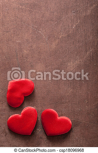 red hearts over wooden background for Valentines day - csp18096968