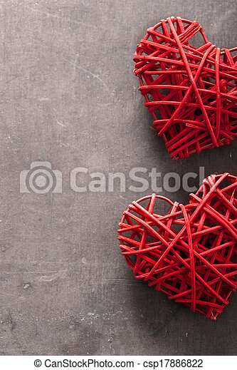 red hearts over wooden background for Valentines day - csp17886822