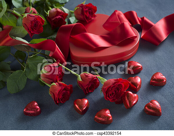 red hearts, ribbon and roses for valentines day - csp43392154