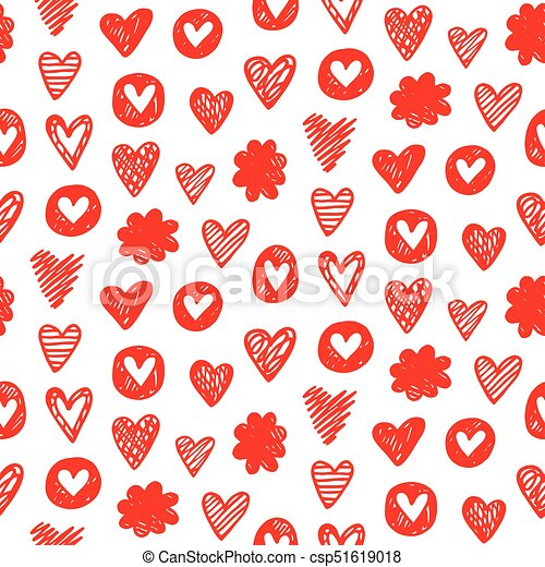 red hearts shapes romantic seamless pattern on white background