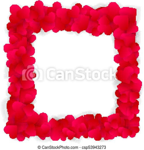 Red hearts square frame isolated on white - csp53943273