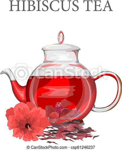 Red Hibiscus Or Karkade Tea Hot Drink In The Glass Teapot Isolated