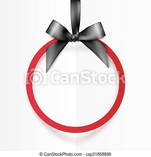 Red holiday round frame with black bow and silky ribbon - csp31858896