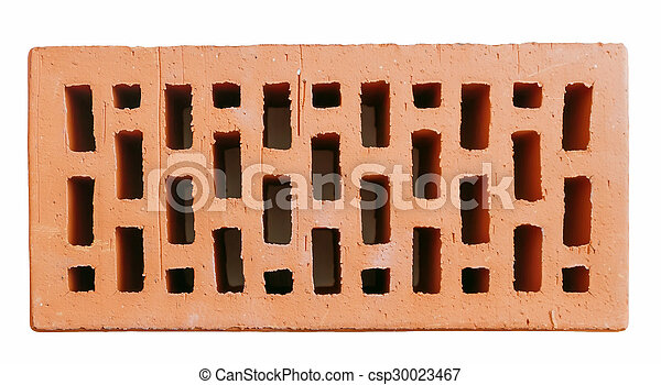 Red Hollow Wall Brick Top View Isolated On White Background