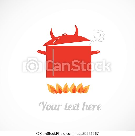 Red hot boiling pot on fire. - csp29881267