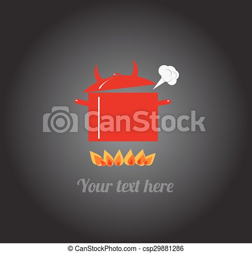 Red hot boiling pot on fire. - csp29881286