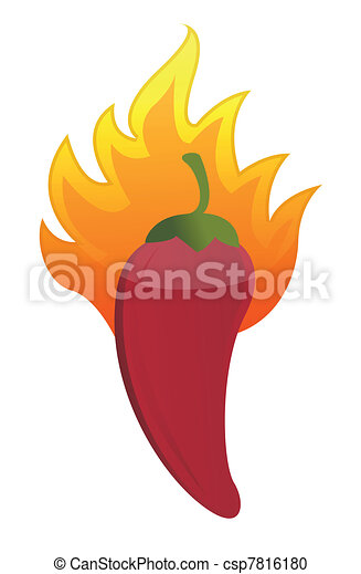 red hot chili pepper on fire - csp7816180