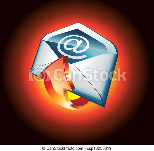 Red Hot Email Icon - csp13255819
