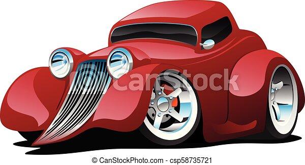Red Hot Rod Restomod Coupe Cartoon Car Vector Illustration - csp58735721