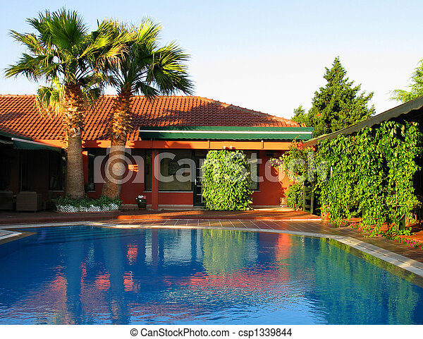 Red hotel tropical house with swimming pool little hotel stock photo search photographs and Red house hotel swimming pool