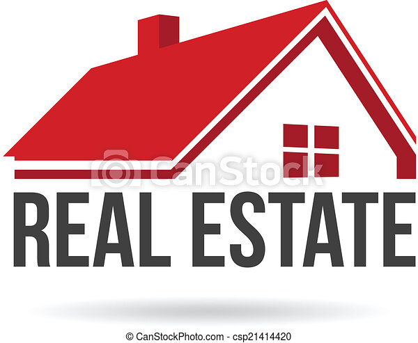 Red house real estate image. Vector icon - csp21414420