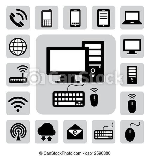 Dispositivos móviles, computadoras y conexiones de red, iconos fijados. Ilustración - csp12590380