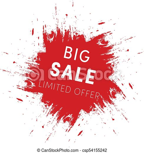 Red Ink Splash Big Sale Tag Template Limited Offer Sign  Eps