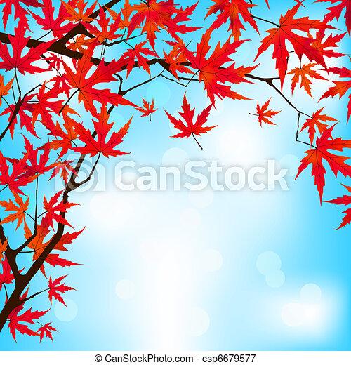 Red Japanese Maple leaves against blue sky. EPS 8 - csp6679577