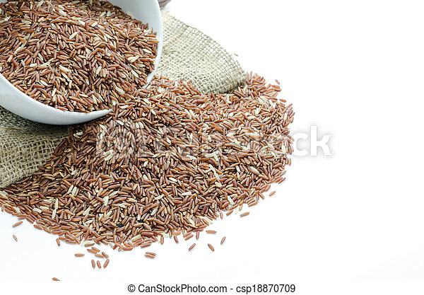 Red jasmine rice, isolated on white - csp18870709