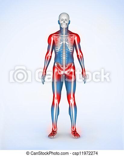 Red joints of a blue digital skelet - csp11972274