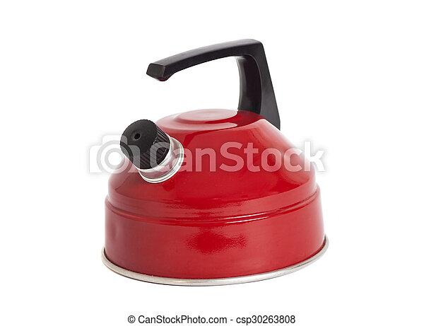 Red kettle isolated on white - csp30263808