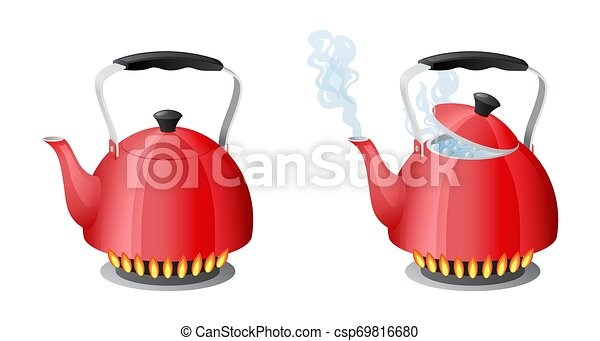Red kettle with boiling water on kitchen stove flame - csp69816680