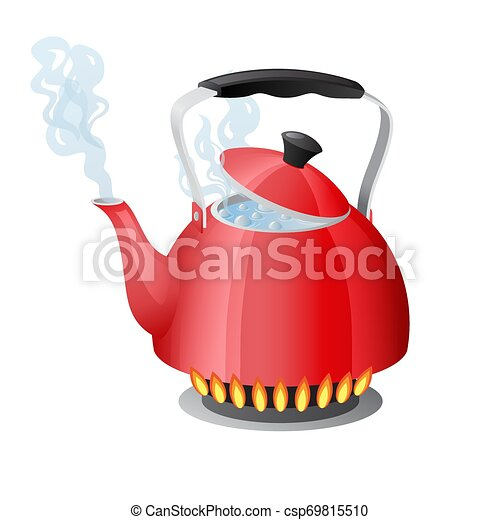 Red kettle with boiling water on kitchen stove flame - csp69815510