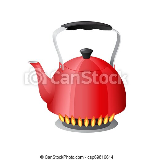 Red kettle with boiling water on kitchen stove flame - csp69816614
