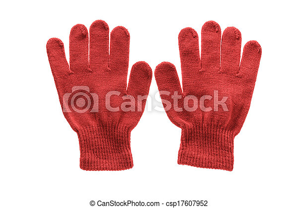 Red Knitted Cloth Kid Gloves With Pattern Isolated On White Background