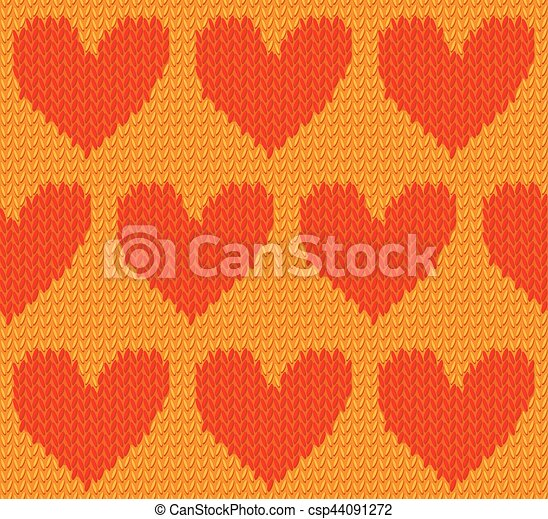 Seamless Textile Pattern Red Knitted Hearts On Yellow Knitted