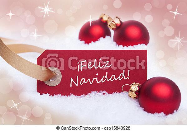 Red Label With Feliz Navidad - csp15840928