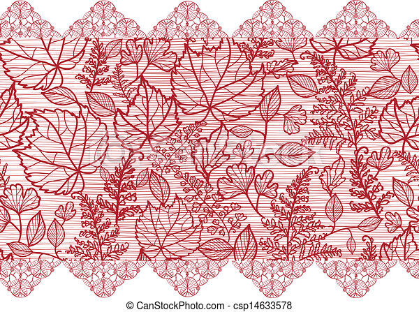 Red lace flowers horizontal seamless pattern border - csp14633578