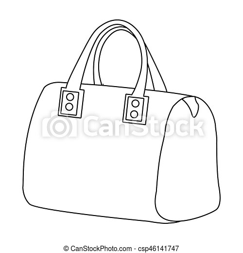 642bb79e Red Lady's Bag With Handles. Ladies Accessory Items. Woman Clothes Single  Icon In Outline Style