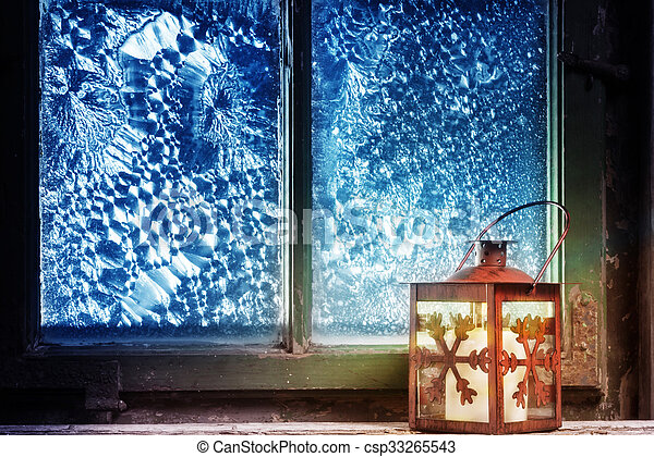 Red lantern in the window - csp33265543