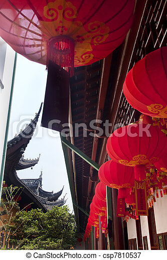 Red Lanterns Jade Buddha Temple Jufo Si Shanghai China - csp7810537