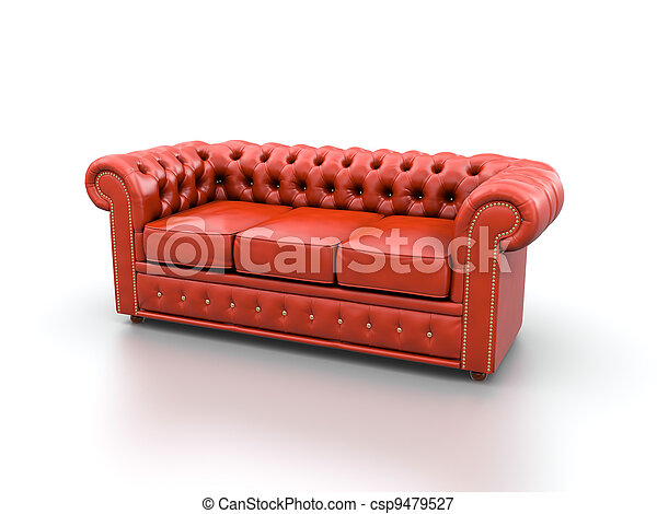 Red leather sofa. Red classic leather sofa isolated on white background.