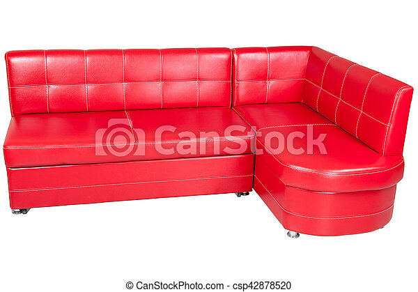 Awe Inspiring Red Leatherette Sofa Dining Isolated On White Caraccident5 Cool Chair Designs And Ideas Caraccident5Info