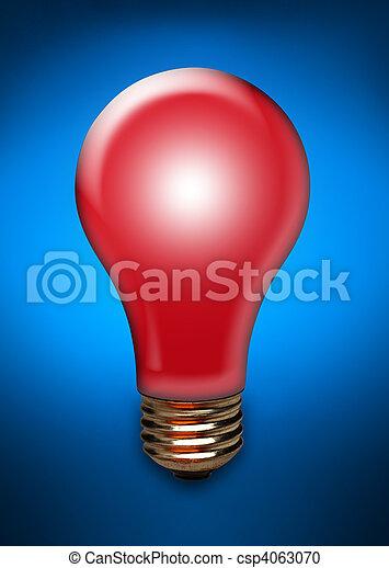 Red light bulb on blue - csp4063070