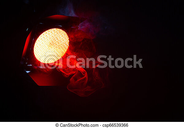 Red Light With Smoke In The Dark Equipment For Photo Studio Red Light With Smoke On Dark Background Equipment For Photo