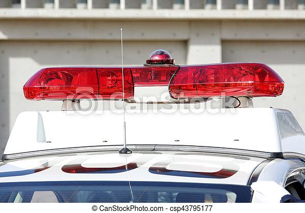 Red Lightbar Of Police Car
