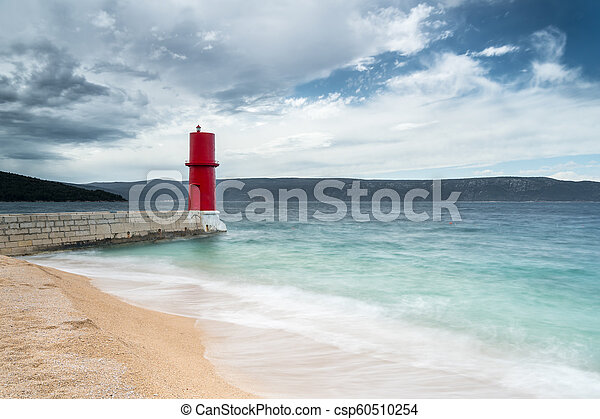 Red lighthouse of Cres on a cloudy day in spring - csp60510254