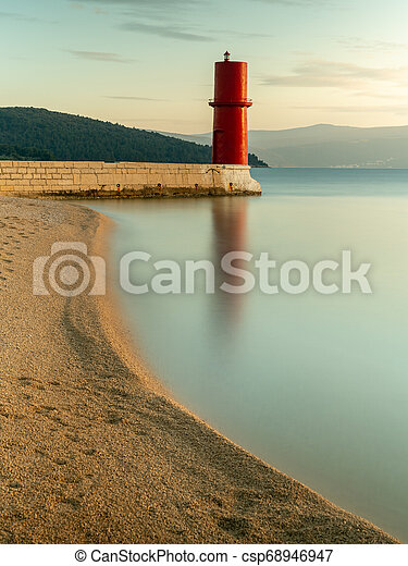 Red lighthouse of Cres on a sunny evening in spring - csp68946947