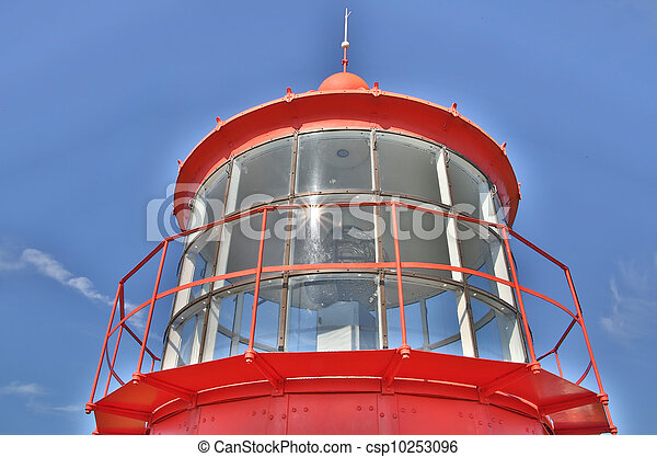 Red lighthouse seen majestic on clear sky - csp10253096
