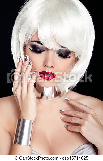 Red Lips Blond Woman With White Short Hair Isolated On Black
