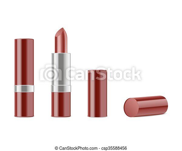 Red lipstick isolated on white background - csp35588456