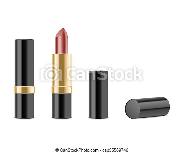 Red lipstick isolated on white background - csp35589746