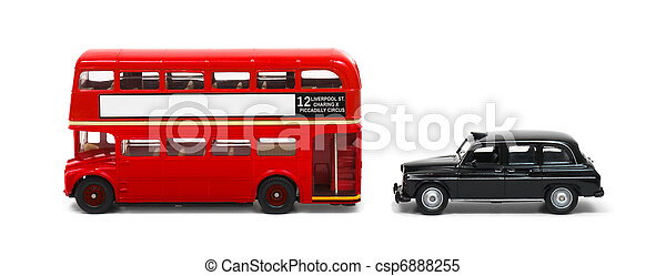 Red London bus and taxi isolated on white - csp6888255