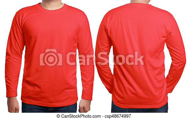 Red Long Sleeved Shirt Design Template