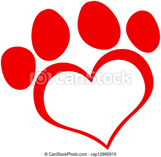 Red Love Paw Print - csp12995910