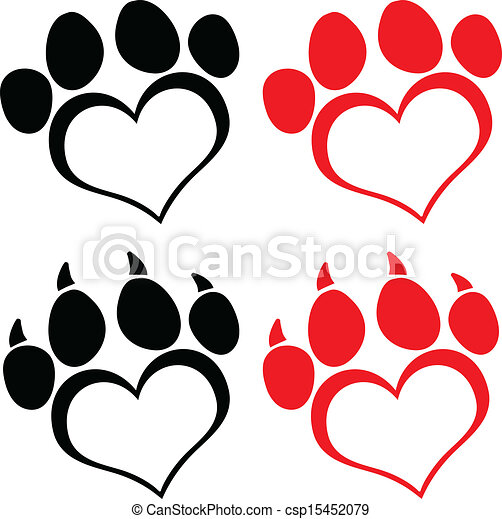 Red Love Paw Print With Claws  - csp15452079