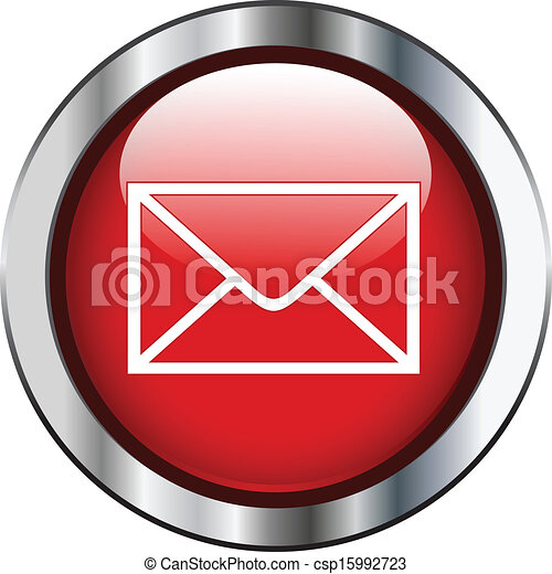 Red mail button with silver border - csp15992723