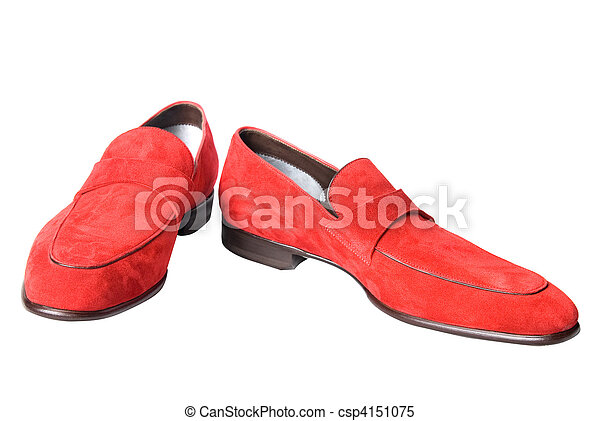 red male leather shoes isolated on white - csp4151075