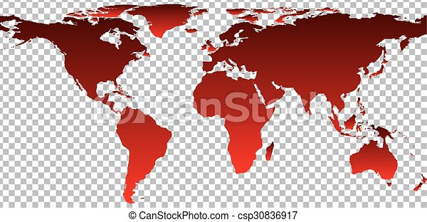 red map of world on transparent background csp30836917