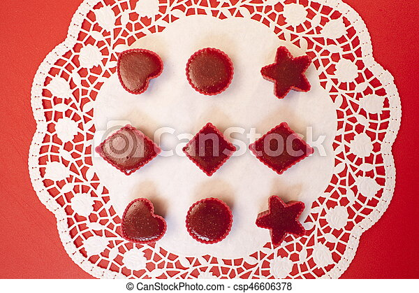 Red marmalade in molds - csp46606378
